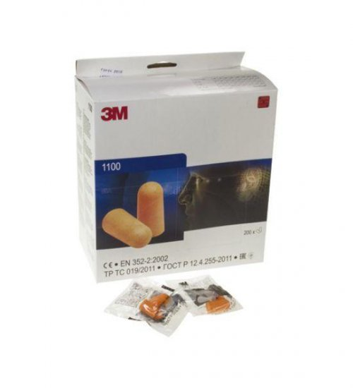 3M 1100 disposable foam ear plugs box 200