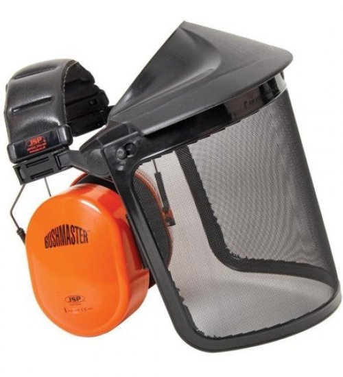 Bushmaster with 20cm polycarb mesh visor - Ear defenders with visor - Strimmer and chainsaw