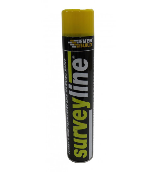 Everbuild surveyline line, spot and road marker spray 700ml - line marking semi permanent white, red, yellow and blue