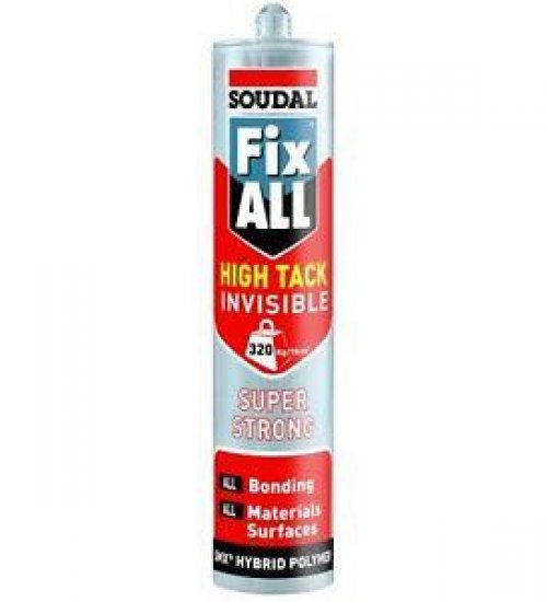 Soudal Fix all High Tack invisible - Clear high strength hybrid adhesive sealer - 290ml