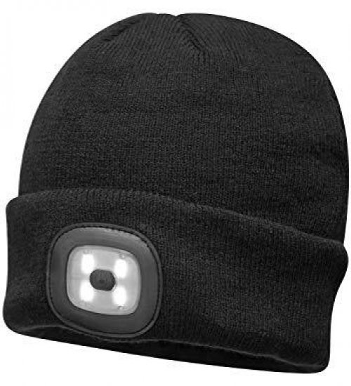 Kingavon USB rechargeable beanie hat with light