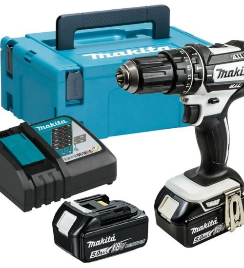MAKITA DHP482RTWJ 18V LXT WHITE COMBI DRILL INC 2X 5.0AH BATTERIES