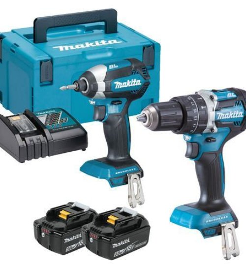 MAKITA DLX2180TJ 18V CORDLESS BRUSHLESS TWIN KIT DHP484 COMBI DRILL & DTD153 IMPACT DRIVER INC 2X 5.0AH BATTS