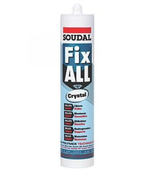 Soudal Fix all crystal - super clear sealant adhesive and filler 290ml cartridge