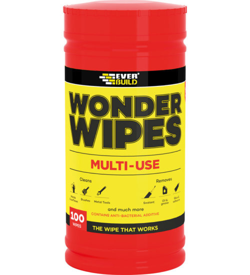 Everbuild wonder wipes multi use trade wipe tub of 100 cleaning antibacterial all surface