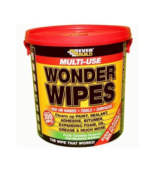 Everbuild wonder wipes multi use trade wipe tub of 300 cleaning antibacterial all surface