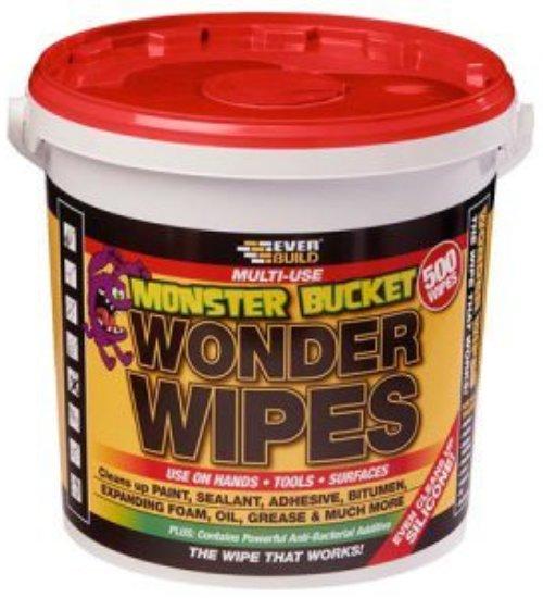 Everbuild wonder wipes multi use trade wipe tub of 500 monster bucket antibacterial