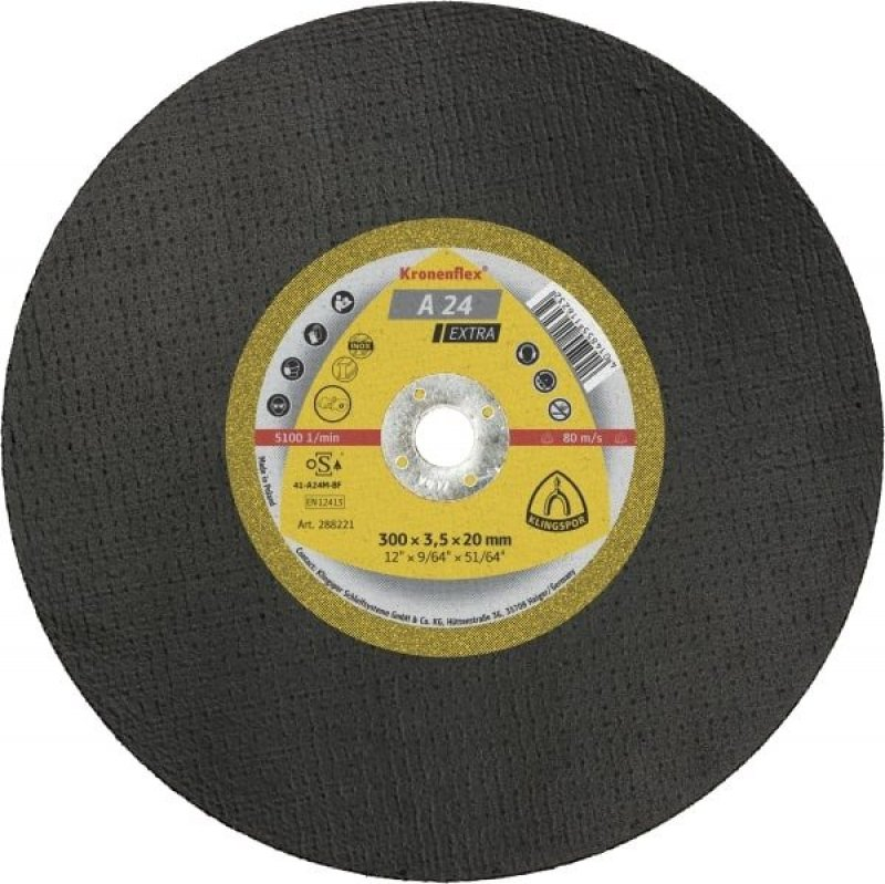 Klingspor A24 Extra 300 mil (12 inch) flat cutting disc for con saw
