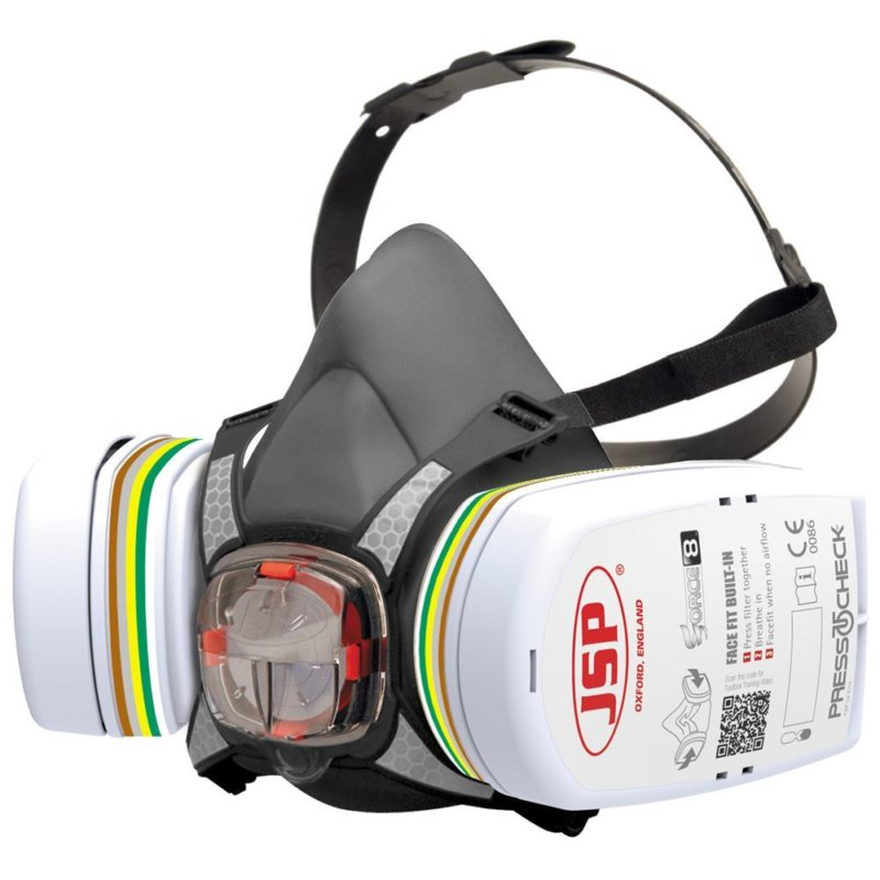 JSP Force 8 Half Mask with ABEK1P3 Press To Check Filter