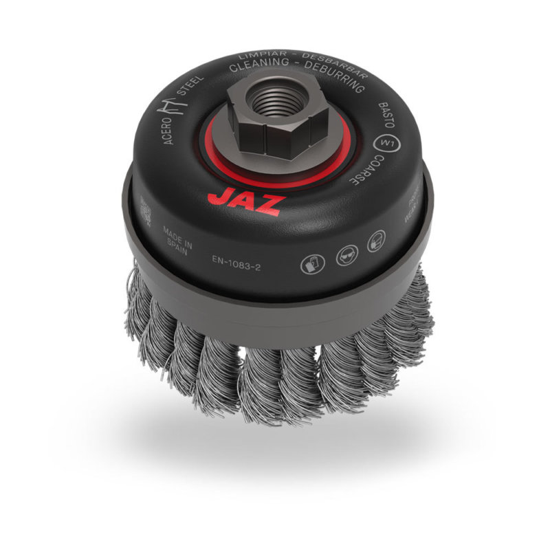 JAZ premium knotted cup brush for heavy removal - 65mm