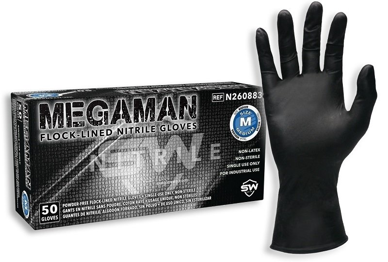 Megaman - Heavy Duty Nitrile Exam Gloves with DriTek® Over 90% biodegradable in landfill - BOX 50