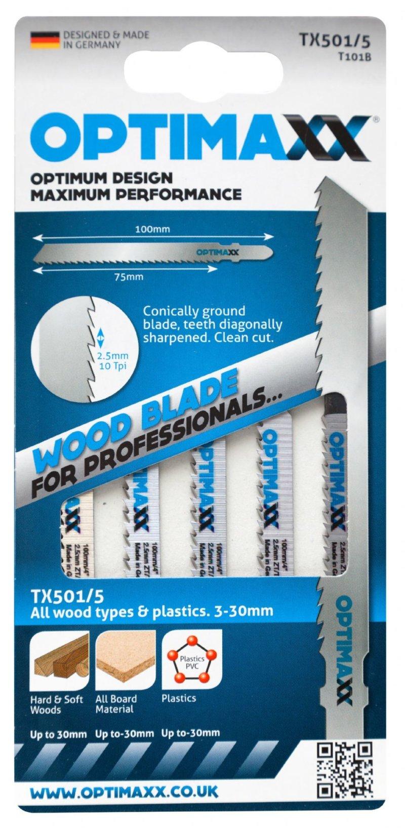 Optimaxx TX501/5 vari-use jigsaw blades wood/plastic - Pack of 5