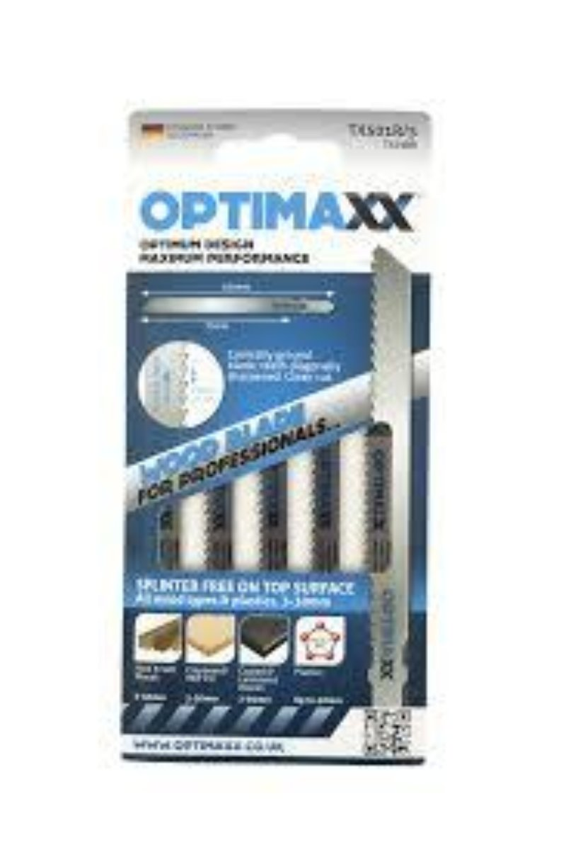 Optimaxx TX501R Splinter free reverse cut jigsaw blade - wood/plastic - Pack of 5