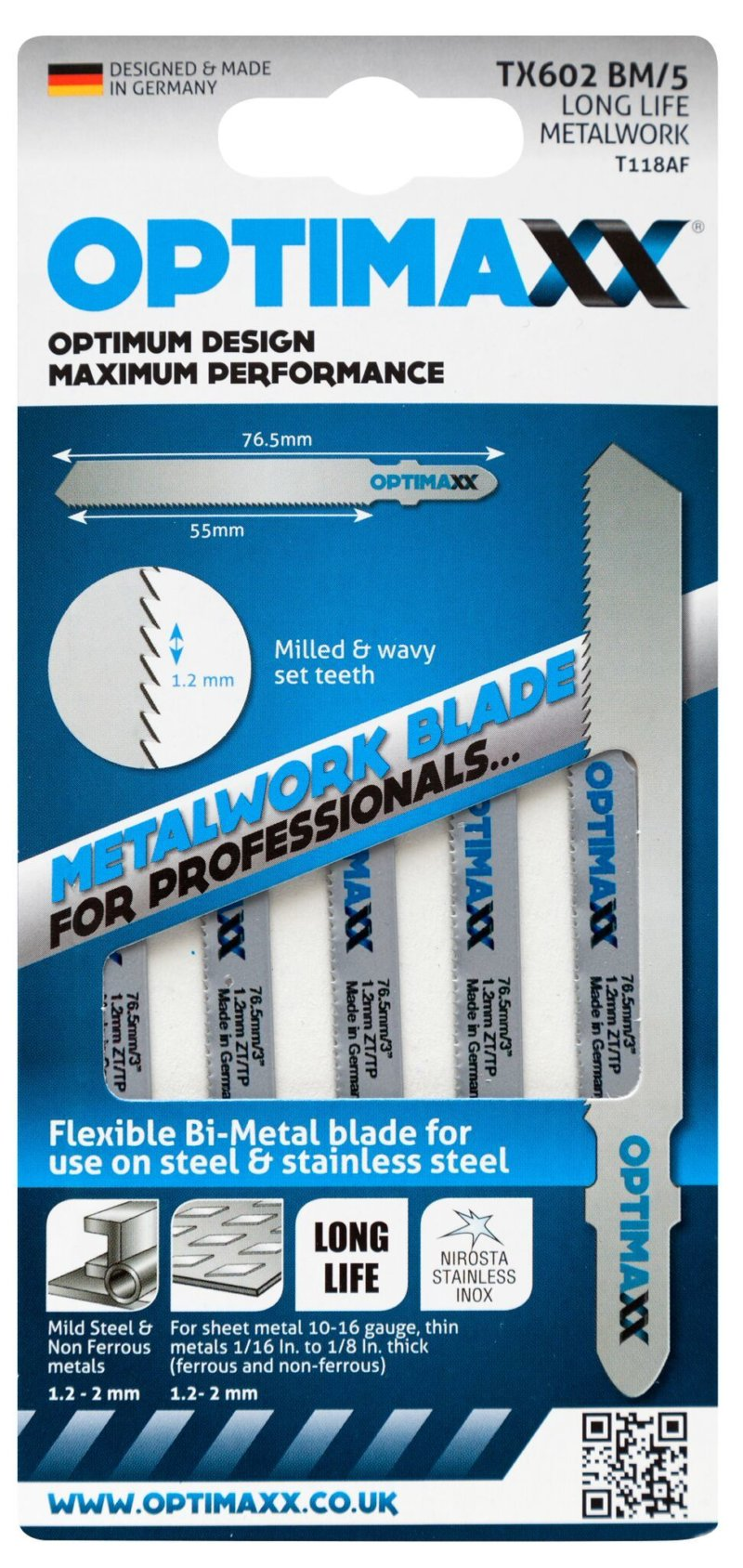 Optimaxx TX602BM Jigsaw blade for sheet metal - long life Bi-metal blade - Pack of 5