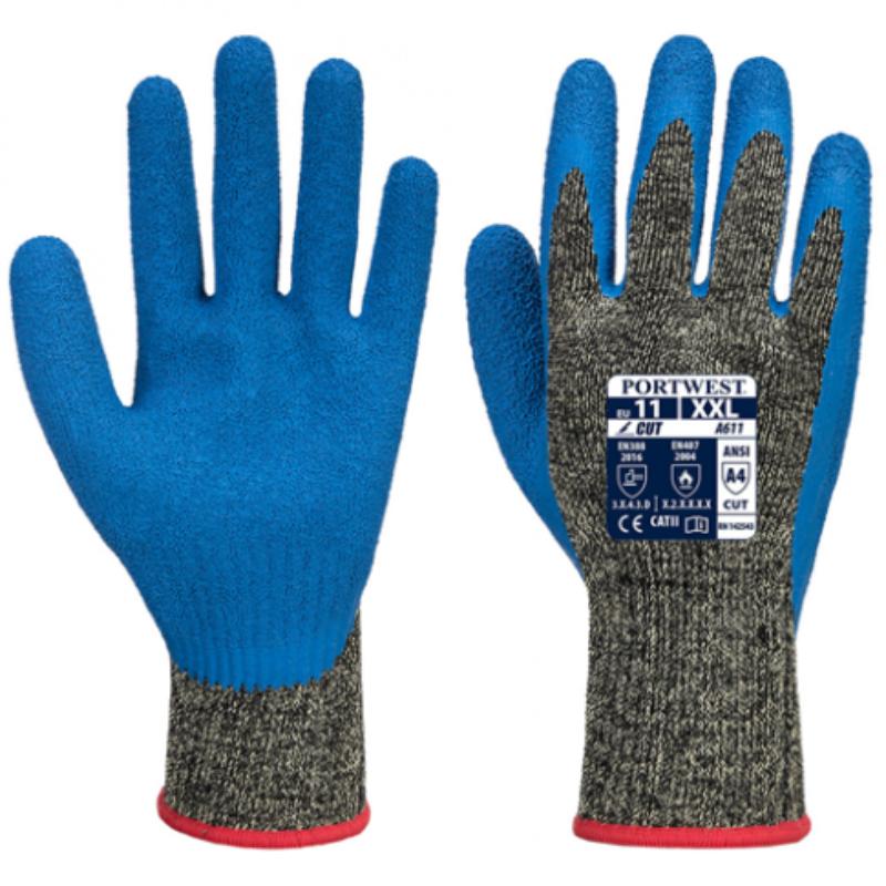 Portwest A611 Aramid HR latex cut rated gloves