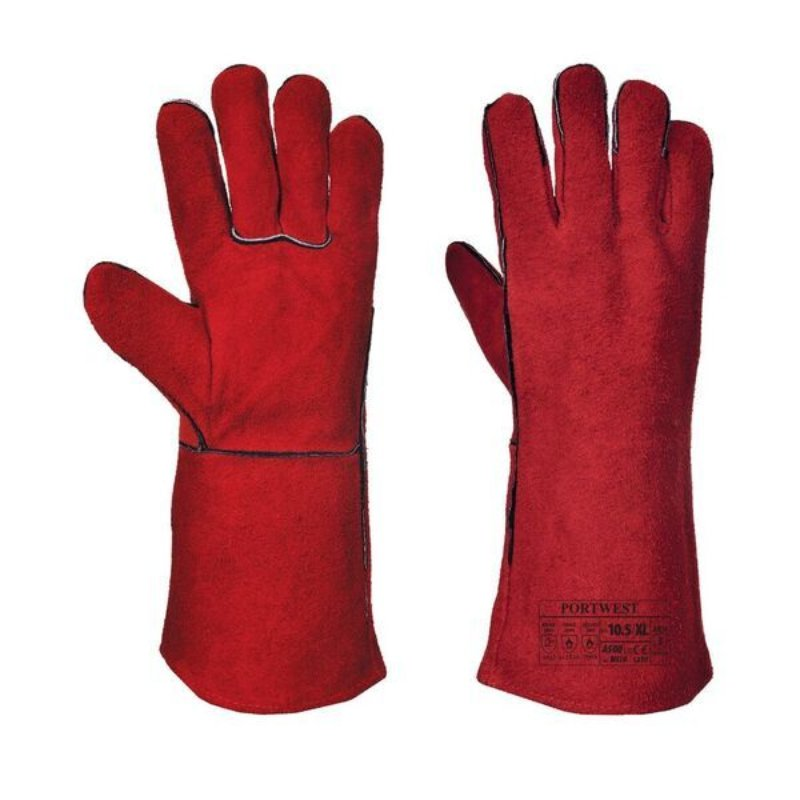 PORTWEST A500 BASIC RED LEATHER WELDING GAUNTLETS SIZE XL - MOQ 6 PAIR