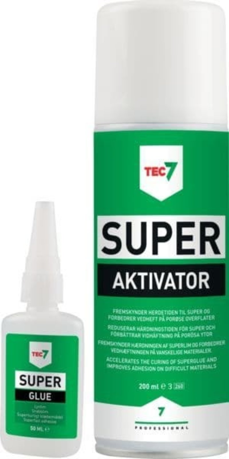 Tec 7 50g superglue and activator 200ml kit - High strength adhesive mitre bond kit