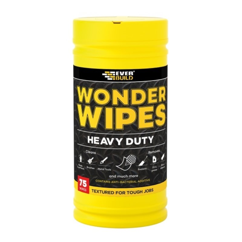 Everbuild heavy duty Wonder Wipes tub - 75 textured disinfectant heavy grime wipes