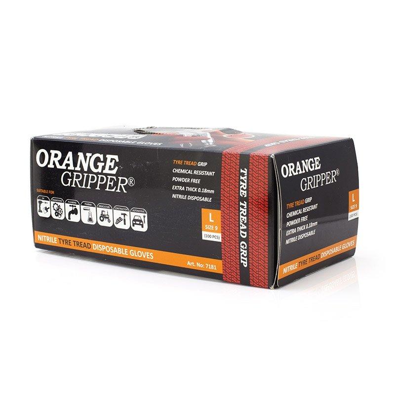 Orange gripper tyre tread grip disposable nitrile gloves 100 pair