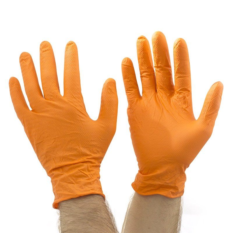 Orange gripper tyre tread grip disposable nitrile gloves - Carton 10 boxes