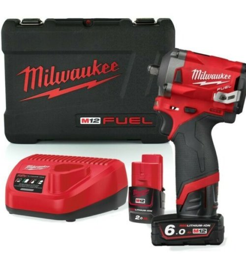 "Milwaukee M12FIW38-622X 12v 1 x 6.0/2.0Ah Li-ion 3/8"" Impact Wrench"
