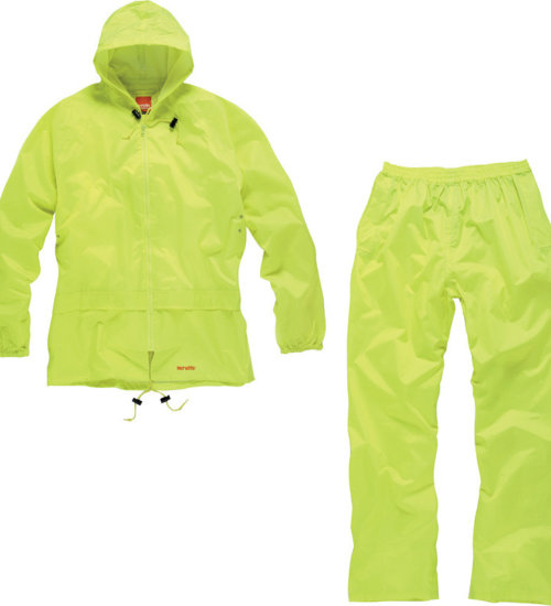 Scruffs fully adjustable waterproof suit two piece - black and Hi-Vis yellow