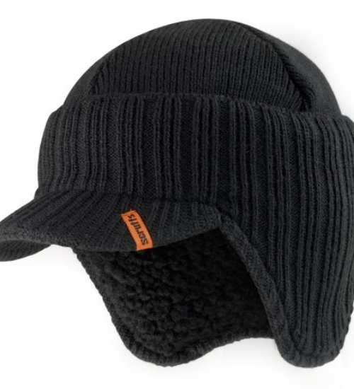 Scruffs knitted peaked beanie hat - warm stylised work beanie - Black