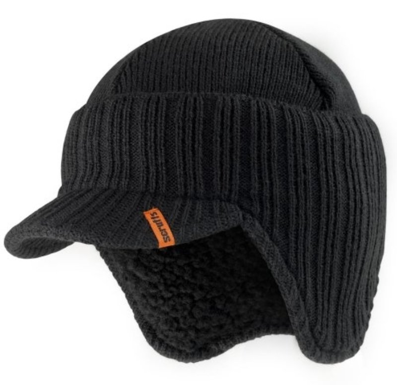 Scruffs knitted peaked beanie hat - warm stylised work beanie - Black