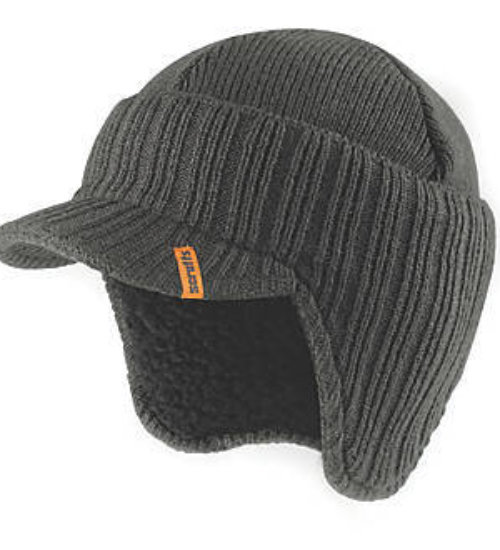 Scruffs knitted peaked beanie hat - warm stylised work beanie - Graphite