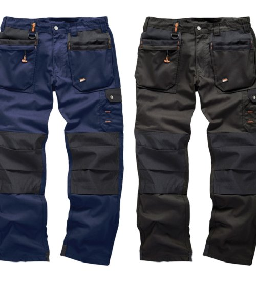 Scruffs men's worker plus trousers - black and navy hard wearing workwear