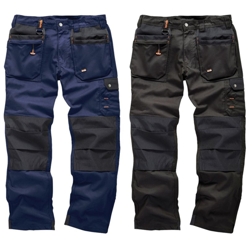 Scruffs men's worker plus trousers - black and navy hard wearing workwear