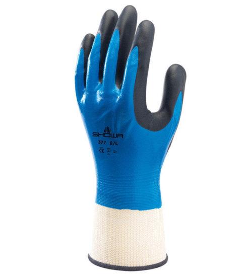 SHOWA 377 Nitrile Waterproof Work Grip Gloves